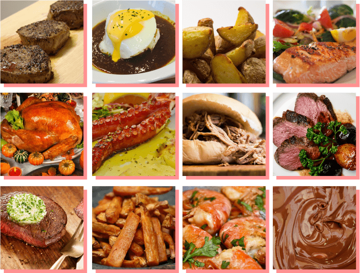 Diferentes pratos feitos utilizando a técnica sous vide