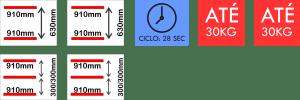 Dimensões internas da seladora a vácuo Dupla 910