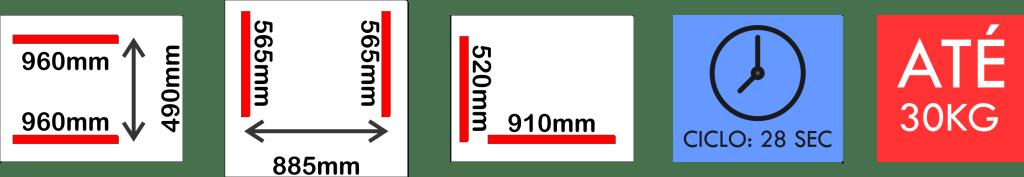 Dimensões internas da seladora a vácuo VM 30