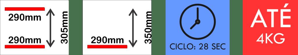 Dimensões internas da seladora a vácuo modelo VM 12A