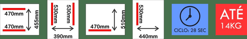 Dimensões internas da seladora a vácuo VM 53