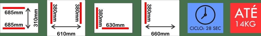Dimensões internas da seladora a vácuo VM 70